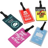 Bundle Monster 5 pc Silicone Mixed Design Luggage Bag Tags - Set 1