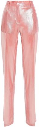 MSGM Metallic Ribbed Jersey Straight-leg Pants
