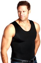 Insta Slim Muscle Tank Men's Compression Under Shirt (Black w/ White Trim, L)