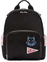 Miu Miu Black Satin Cat Backpack