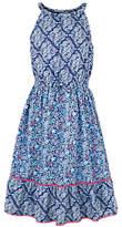 Fat Face Girls' Edith Tile Print Maxi Dress, Blue