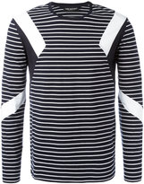 Neil Barrett geometric insert striped top - men - Cotton - M