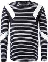 Neil Barrett geometric insert striped top