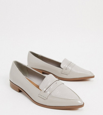 ASOS DESIGN Wide Fit Maltby pointed loafers in grey croc