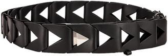 Bottega Veneta Cutout 5cm Belt in Black & Silver   FWRD