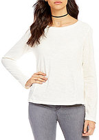 Sanctuary Knt Off Duty Round Neck Long Sleeve Solid Tee