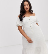 Asos DESIGN Curve button through off shoulder midi dress in texture