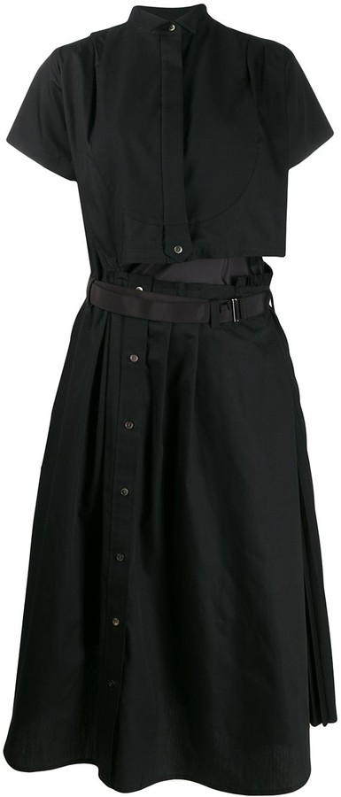 Sacai asymmetric shirt midi dress