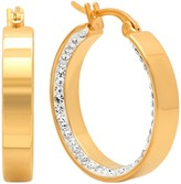 Simulated Diamond Inlay Hoop Earrings