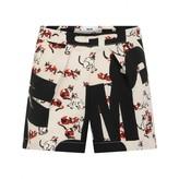 MSGM MSGMGirls Logo & Cat Print Silk Crepe Shorts