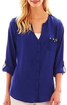 JCPenney Embellished Button-Front Blouse