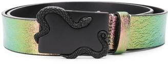 Just Cavalli Holographic Serpent Buckle Belt