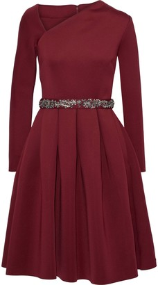 Badgley Mischka Pleated Embellished Scuba Dress
