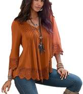 Queenlife Womens Casual Lace Stitching Ladies V-Neck Long Sleeve Blouse Tops (M, )