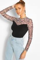 boohoo Animal Print Mesh Top With Contrast Body