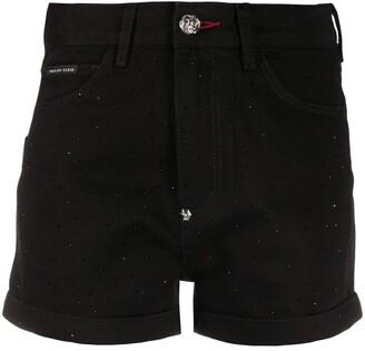 Philipp Plein Crystal-Embellished Hot Pants
