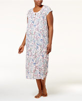 Charter Club Plus Size Crinkle Printed Nightgown, Only at Macy's