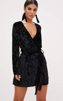 PrettyLittleThing Black Velvet Wrap Over Shift Dress