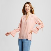 Notations Women's V-Neck Woven Top with Femine Sleeve