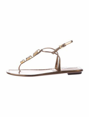 Prada Leather Crystal Embellishments Slingback Sandals Gold