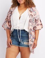 Charlotte Russe Plus Size Floral Lattice-Back Kimono