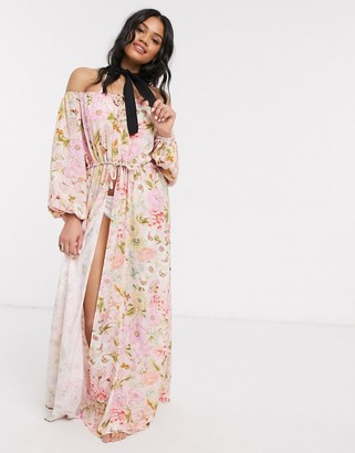 ASOS DESIGN off shoulder glam split beach kimono in watercolour floral print