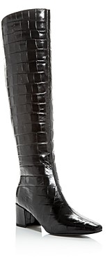 Sigerson Morrison Women's Paislee Croc-Embossed Square-Toe Boots