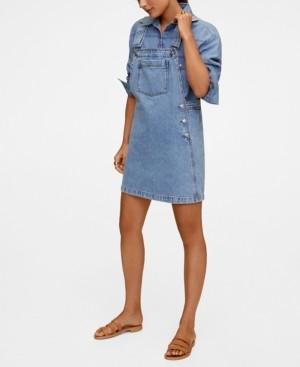 MANGO Women's Pocket Denim Pinafore Dress