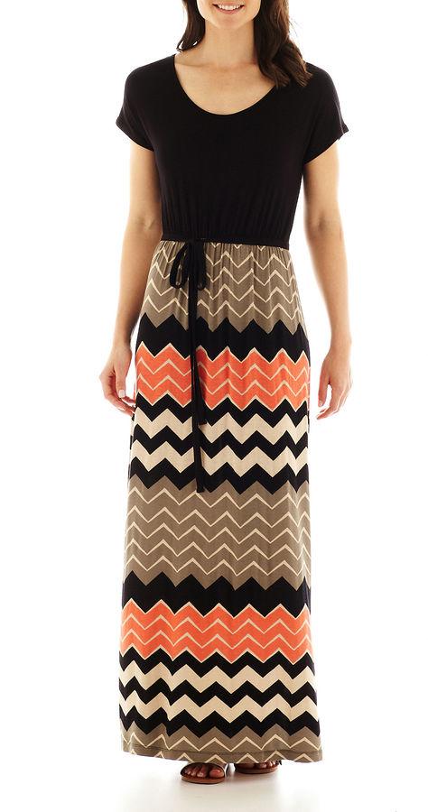 JCPenney A.N.A a.n.a Short-Sleeve Two-Tone Blouson Maxi Dress - Tall