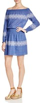 Tory Burch Loretta Embroidered Off-the-Shoulder Dress