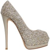 Giuseppe Zanotti Design 130mm Embroidered Glitter Open Toe Pumps