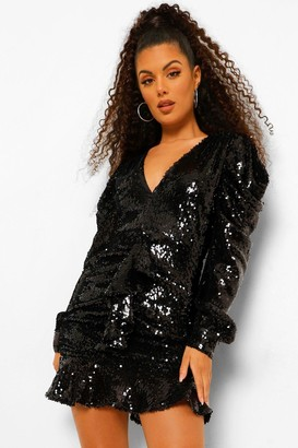 boohoo Sequin Plunge Ruched Detail Long Sleeve Mini Dress