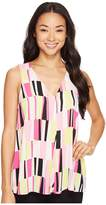Vince Camuto Sleeveless Charming Graphic Drape Front Blouse