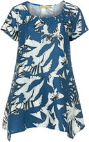 Isolde Roth Plus Size Floral printed linen tunic