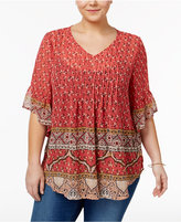 Style&Co. Style & Co Plus Size Printed Pleated Peasant Top, Only at Macy's