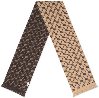 Gucci Gg Wool Scarf In Beige & Dark Brown in Beige & Dark Brown | FWRD