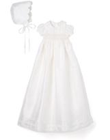 Laura Ashley Ivory Silk A-Line Christening Gown & Bonnet - Infant