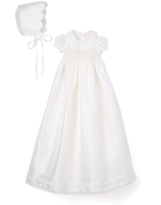 Laura Ashley Ivory Silk A-Line Dress & Bonnet - Infant