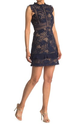 Reiss Lena Lace Fitted Sleeveless Dress