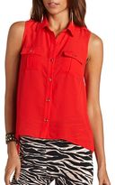 Charlotte Russe Button-Down Crepe Tunic