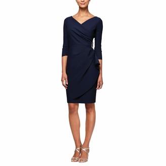 Alex Evenings Women's Short 3/4 Sleeve Slimming Sheath Dress