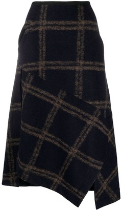 Odeeh Asymmetric Check Pattern Skirt