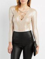 Charlotte Russe Shimmer Lattice-Front Bodysuit