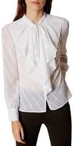 Karen Millen Ruffle Jacquard Shirt