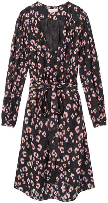 Rebecca Taylor Long sleeve satin jacquard copper cheetah print dress - UK12 - Pink/Purple/Black
