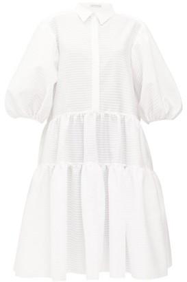 Cecilie Bahnsen Amy Tiered Striped-seersucker Shirt Dress - White