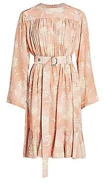 Chloé Women's Floral Silk Belted Midi Dress