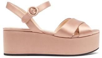 Prada Cross-over Flatform Satin Sandals - Womens - Nude