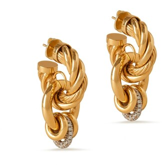 Mulberry Twist Multi-hoops Earring Gold and Crystal Brass and Glass