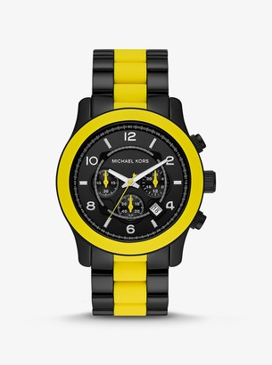 Michael Kors Oversized Runway Black-Tone and Silicone Watch